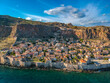 """Aerial view of the old medieval castle town of Monemvasia in Lakonia of Peloponnese, Greece. Often called """"The Greek Gibraltar"""""""