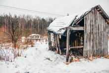 Wooden House That Burned Down For Half On Cold Winter Day