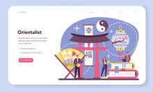 Orientalist Web Banner Or Landing Page. Professonal Scientist