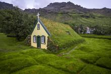 Exterior Of Hofskirkja Church Against Sky, Iceland