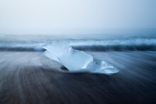 Chunk Of Ice On Sea Shore At Diamond Beach Near Jokulsarlon Glacier Lagoon In Foggy Weather, Iceland