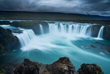 Idyllic Shot Godafoss Waterfall Against Cloudy Sky, Northern Iceland