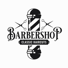 Barber Shop Logo With Barber Scissors And Pole