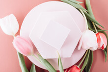 Solid Display Block For Shop Windows With Tulips On Pink Background, Empty Podium For Product Presentation, Geometric Stand For Cosmetics