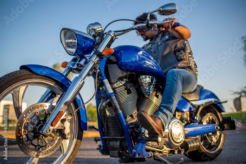 Canvas Print biker in action
