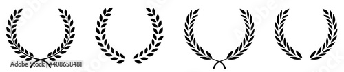 Fototapeta Set of black circular foliate laurels branches.Laurel wreath.Silhouette laurel wreath. Heraldic trophy crest, Greek and Roman olive branch award, winner round emblem. Vector black laurels set obraz