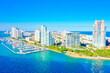 canvas print picture - Miami Beach South Pointe condo buildings aerial