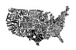 United States Of America Lettering Map Design Art