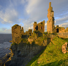 Sinclair Girnigoe Castle. Castle Sinclair Girnigoe Is Located About 3 Miles North Of Wick On The East Coast Of Caithness, Scotland, UK