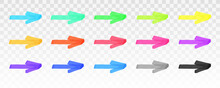 Color Highlighter Arrows Set Isolated On Transparent Background. Red, Yellow, Pink, Green, Blue, Purple, Gray, Black Marker Arrows. Vector Hand Drawn Graphic Stylish Element