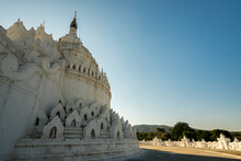Exterior Of White Hsinbyume Pagoda Against Clear Sky, Mingun, Mandalay, Myanmar
