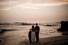 Newlyweds & Nine Year Old Son On Beach At Sunset In San Diego