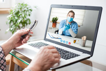 Elderly Patient And Female Doctor Telemedicine Concept