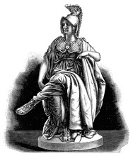 The Roman Goddess Of Wisdom - Minerva By A French Sculptor Albert-Ernest Carrier-Belleuse. Illustration Of The 19th Century. Germany. White Background.