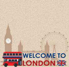 Blank Vintage Postcard With Landmarks Of London