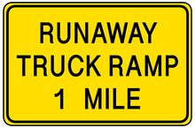 Runaway Truck Ramp 1 Mile Warning Sign Isolated On White Background