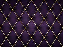 Dark Purple Leather Capitone Background Texture. Violet Glossy Upholstery Premium Dark Fabric Texture. Retro Chesterfield Style Soft Tufted Furniture Upholstery With Deep Diamond Pattern And Buttons