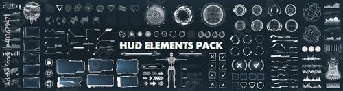Fototapeta Scifi futuristic HUD, GUI, UI interface set for game and VR design. Virtual reality graphic box, big set futuristic elements. UI - charts, digital circle, earth global, 3D body and other HUD elements obraz
