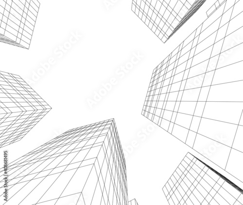 abstract architectural drawing 3d vector illustration