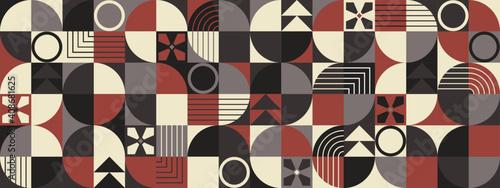 Fotografie, Obraz Retro seamless pattern, abstract geometric shapes mosaic vector wide wallpaper
