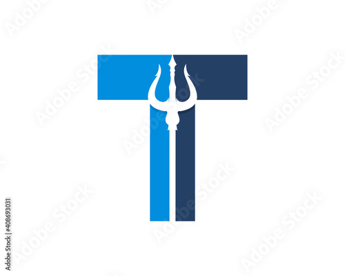 Photo T Letter with trident in the middle