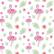 Watercolor Flamingo Seamless Pattern, Flamingo Digital Paper, Flamingos Background, Tropical Wallpaper, Pink Scrapbook Paper, Tropical Surface Pattern, Exotic Print