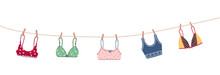 Modern Female Bra Dried On A Rope. Cute Colorful Brassieres After Washing. Trendy Undergarments. Vintage Vector Illustration In Flat Cartoon Style. Suitable For Logo, Icon, Banner.