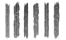 Set Of Tire Tracks, Vector Illustration, Grunge.