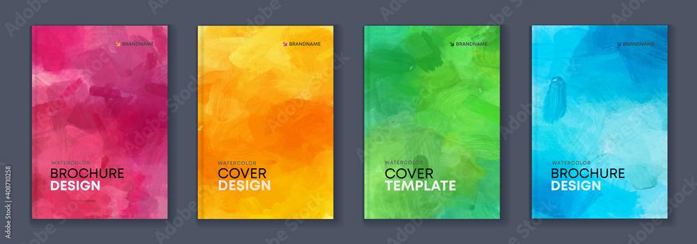 Fototapeta Watercolor A4 booklet colourful cover bundle set
