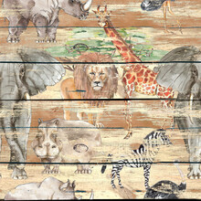 Safari Animal Print Decorative Vintage Style Seamless Pattern On Wooden Background