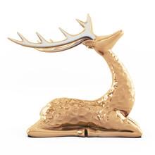 Golden Deer On White Background