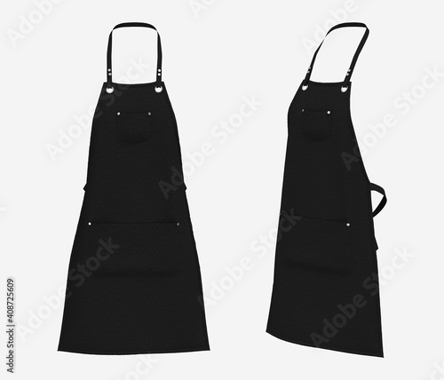Fototapeta Blank  aprons, apron mockup, clean apron, design presentation for print, 3d illu