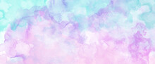 Blue Pink And Purple Watercolor Paint Splash Or Blotch Background, Blotches And Blobs Of Paint And Old Vintage Watercolor Paper Texture Grain