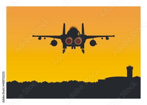 Fotografie, Tablou Double tail fighter jet plane flying over the airport