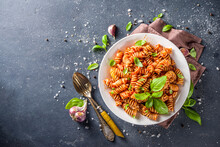 Fusilli Pasta With Tomato Sauce And Basil