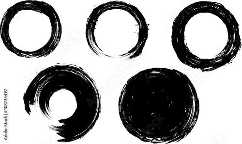 Obraz 墨で描いた丸いフレームセット - fototapety do salonu