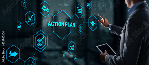 Business Action Plan strategy concept on virtual screen. Time management. © Funtap