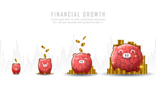 Concept Art Of Financial Growth With Idea Of Putting Coin In Piggy Bank Suitable For Growth Business Or Financial Investment