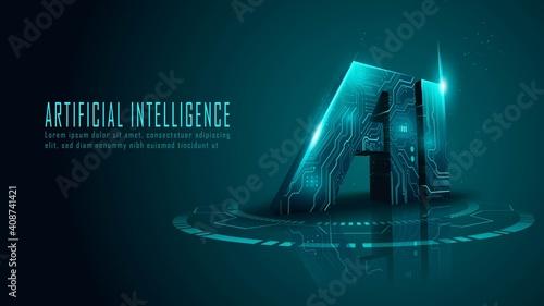 Obraz 3D ai circuit in futuristic concept suitable for future technology artwork , Responsive web banner - fototapety do salonu
