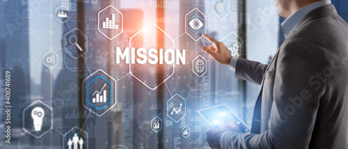Mission concept. Finacial success chart concept on virtual screen. Business background. - fototapety na wymiar