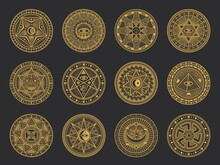 Magic Symbols With Vector Alchemy And Occult Science, Esoteric Religion And Astrology Mystic Signs. Gold Circles With Sun, Moon And Spiritual Eye, Triangle, Pentagram Star, Pyramid And Ankh Ornaments