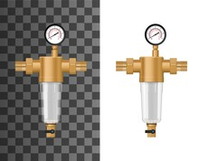 Whole House Water Sediment Filter System Mock Up. Backwash Filter With Copper Or Brass Housing And Threads, Plastic Cartridge With Mesh, Pressure Gauge And Flushing Valve 3d Realistic Vector Template