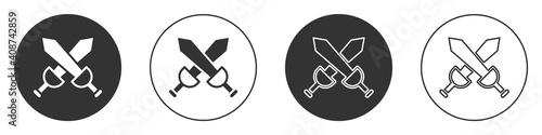Fototapeta Black Crossed medieval sword icon isolated on white background