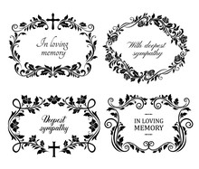 Funeral Mourning Frames With Roses And Lily Flowers Engraved Arrangements. Funerary Memorial Plates Borders With Floral Black Ornaments And Cross Vector. Funeral Borders With Memorial Condolences