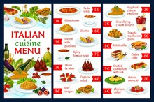 Italian Cuisine Vector Menu Template Turin Soup, Minestrone, Risotto, Melon With Prashuto, Spicy Tomato Soup. Pears In Wine, Caprese Salad Or Beef Lasagna, Vegetable Cheese Omelette, Strawberry Cream