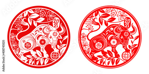 Photo Chinese new year 2021 year of the ox,Red paper cut chinese Ox cow zodiac and flo