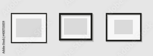 Obraz Set of black photo or picture frames with white mat and shades isolated on gray background. Vector illustration. Wall decor. Rectangle horizontal photo frames - fototapety do salonu