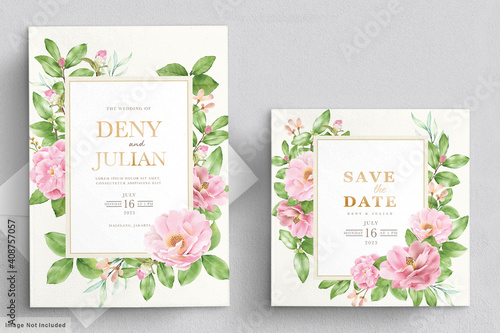 Fotomural watercolor camellia flowers invitation card