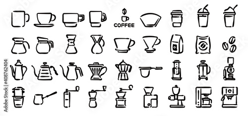 Fotografie, Obraz Barista and Coffee Lovers Icon Set (Hand draw version)