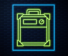 Glowing Neon Line Guitar Amplifier Icon Isolated On Brick Wall Background. Musical Instrument. Vector.